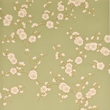Green/Cream Wallcovering by G P & J Baker