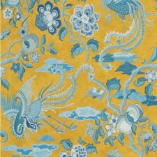 Ochre/Blue Animal Wallcovering by G P & J Baker