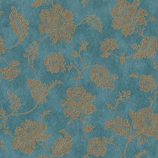 Bright Teal/Bronze Asian Wallcovering by York