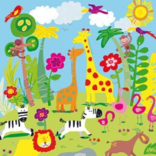 DM418 Animal Safari Wall Mural by Brewster