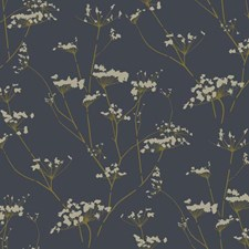 Deepest Slate Blue/Golden Glow/Butter Cream Frosting Botanical Wallcovering by York