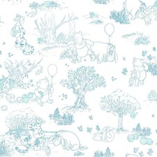 Blues On White Children Wallcovering by York