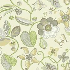 Cream/Pale Grey/Medium Grey Floral Medium Wallcovering by York