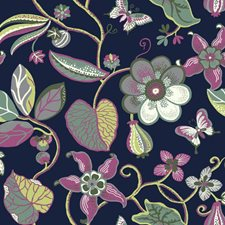 Deep Navy Blue/Yellow/Teal Floral Wallcovering by York
