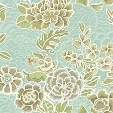 Aqua Satin/Taupe/Tan Floral Wallcovering by York
