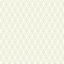 White/Tan Geometrics Wallcovering by York