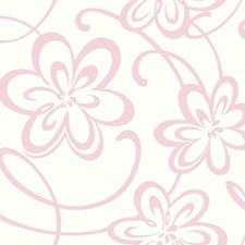 White/Pink Glitter Children Wallcovering by York