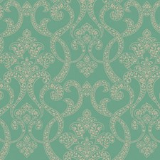 Emerald Green/Silver/Champagne Gold Paisley Wallcovering by York