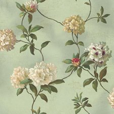 Blue Flowers Wallcovering by York