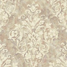 Silver/Light Purple/Cream Damask Wallcovering by York