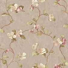 Pale Purple/Grey/White Floral Wallcovering by York