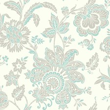 White/Turquoise/Light Taupe Bohemian Wallcovering by York
