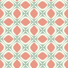 Teal/Orange/White Geometrics Wallcovering by York