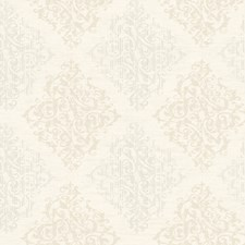 Ivory/Oyster Pearl Metallic Damask Wallcovering by York