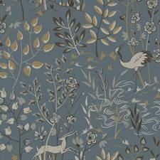 Teal/Tan/Cream Botanical Wallcovering by York