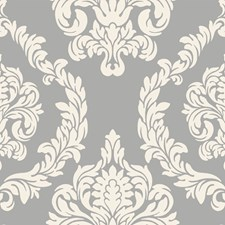 Silver/Cream Damask Wallcovering by York