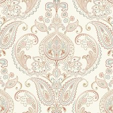 White/Terra Cotta/Caramel Damask Wallcovering by York