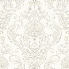 Cream/Grey/Taupe Damask Wallcovering by York