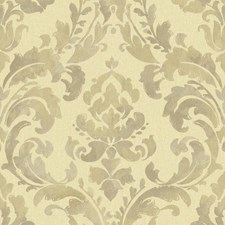 Golden Wheat/Lavender Grey/Truffle Brown Damask Wallcovering by York
