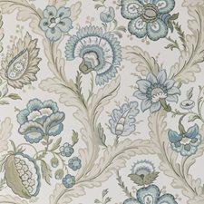 Aqua/Sage Botanical Wallcovering by Lee Jofa Wallpaper