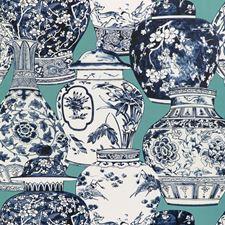 Aqua/Blue Animal Wallcovering by Lee Jofa Wallpaper