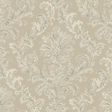 Taupe/Teal/Eggshell Acanthus Wallcovering by York