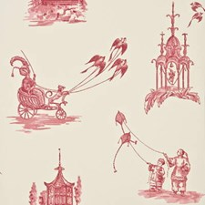 Red Toile Wallcovering by Baker Lifestyle Wallpaper