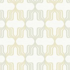 White/Brown/Metallic Gold Geometrics Wallcovering by York