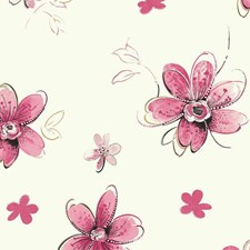 Pearl/Bright Pink/Soft Pink Floral Wallcovering by York