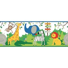 White/Blue/Orange Animals Wallcovering by York