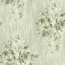 Pale Green/Beige/Off White Floral Wallcovering by York