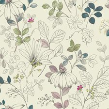 White/Teal/Grey Floral Medium Wallcovering by York