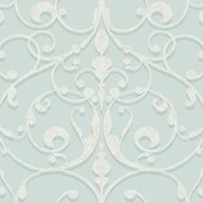 Pale Aquamarine/Medium Aqua/White Traditional Wallcovering by York