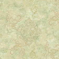 Beige/Tan/Light Green Damask Wallcovering by York