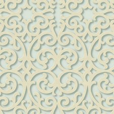Aqua/Cream/Teal Traditional Wallcovering by York