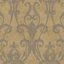 Gold/Charcoal Gray Damask Wallcovering by York