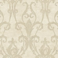 Off White/Pearl Taupe Damask Wallcovering by York