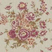Brushed Silver/Purple Grape/Amethyst Floral Medium Wallcovering by York