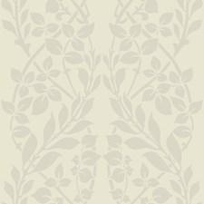 Ivory/White/Metallic Botanical Wallcovering by Kravet Wallpaper