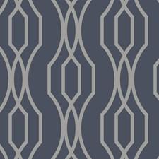 Indigo/Metallic/Silver Modern Wallcovering by Kravet Wallpaper