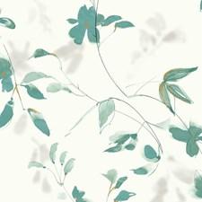 Ivory/Turquoise/Beige Botanical Wallcovering by Kravet Wallpaper