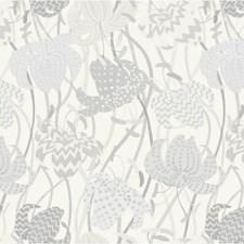 Grey/White Botanical Wallcovering by Kravet Wallpaper