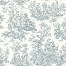 Pure White/Delft Blue Toile Wallcovering by York