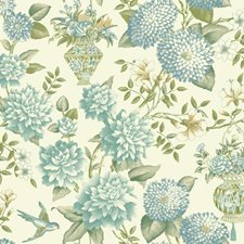 Off-white/Teal/Aqua Floral Wallcovering by York