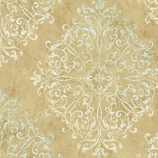 Turquoise Gold Wallcovering by Scalamandre Wallpaper