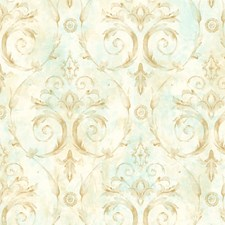 Gold/Turquoise Wallcovering by Scalamandre Wallpaper