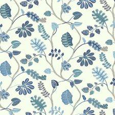 White/Teal Blue/Marine Blue Botanical Wallcovering by York