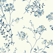 White/Blues/Cream Watercolor Wallcovering by York