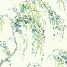 White/Teal/Aquamarine Floral Wallcovering by York