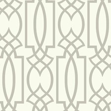 White/Grey Lattice Wallcovering by York